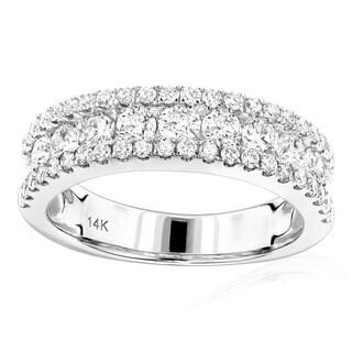 Luxurman 14k White Gold 1 5/8ct TDW Diamond Wedding Band (G-H, VS1-VS2)