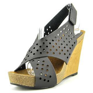 r.b.l.s. Women's Brianna Black Faux Leather Wedge Sandals
