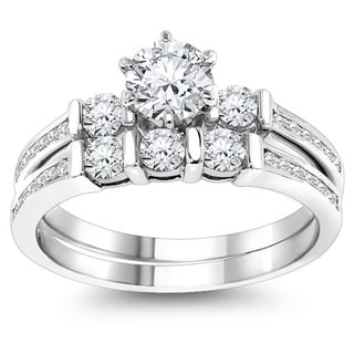 Luxurman 14k Gold 1 1/3ct TDW Diamond Designer Engagement Ring Set (G-H, SI1-SI2)