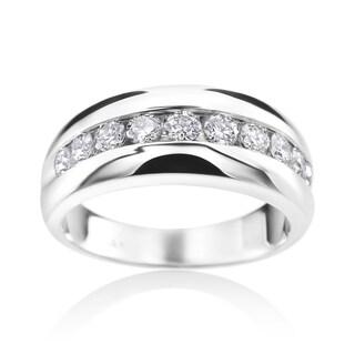 SummerRose 14k White Gold Diamond Mens Channel Wedding Ring