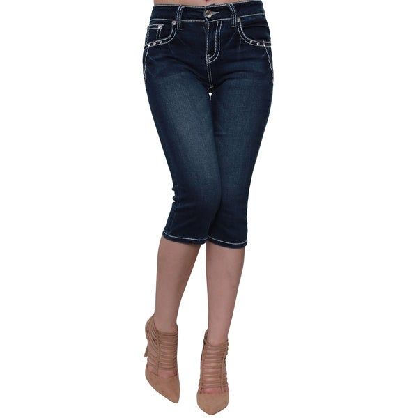 Sexy Couture Women's Blue Cotton, Polyester Mid-rise Stud Five Pockets Embroidered Skinny Capri Jeans