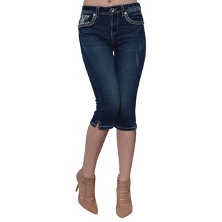 Sexy Couture Women's S220-C Blue Cotton Blend Rhinestone Embroidered Rear Pocket Capri Jeans
