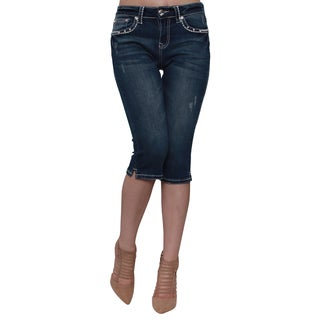 Sexy Couture S222-C Women's Blue Cotton, Polyester Rhinestone Button Stitched Embroidery Capri Jeans