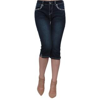 Sexy Couture Women's Dark Wash Rhinestone Stud Four-pocket Capri Jeans