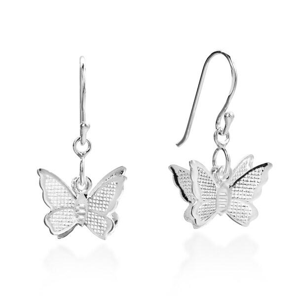 Fluttering Butterfly .925 Sterling Silver Dangle Earrings (Thailand)