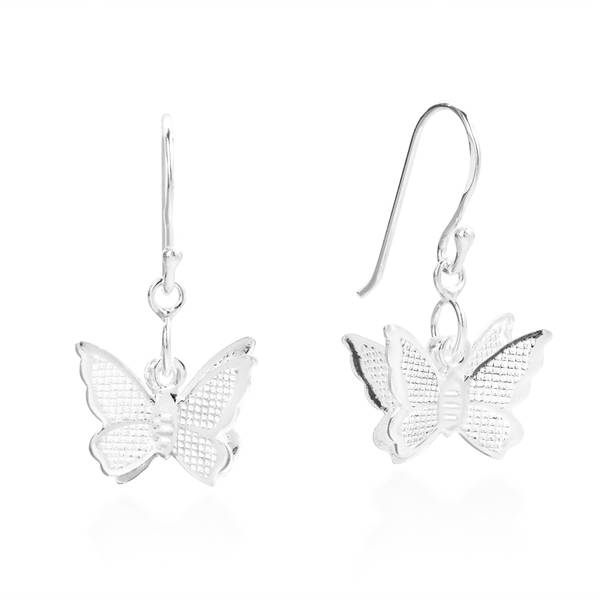 Handmade Fluttering Butterfly .925 Sterling Silver Dangle Earrings (Thailand) 19204309