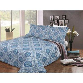 Blue Floral Quilt Set