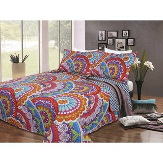 Blue and Orange Floral Quilt Set