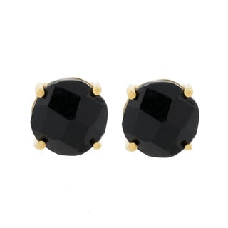 Pori 18k Gold-plated Sterling Silver Black Onyx Gemstone Round Prong Stud Earrings