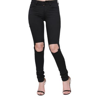Tri Angel T4015-PS Women's Distressed Hole Ripped Skinny Jeans