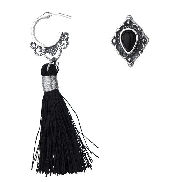 Antique Black Tassel and Stud Mismatch Earrings