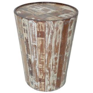 Benzara Urban Port Brown Wood Rustic Barrel Side Table