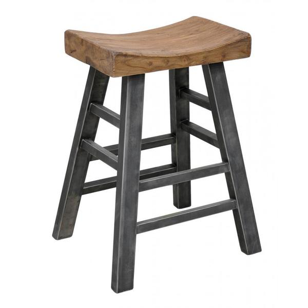 Benzara Urban Port Natural/Black Wood Square Barstool
