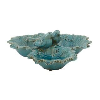 Green Ceramic Bird Bowl