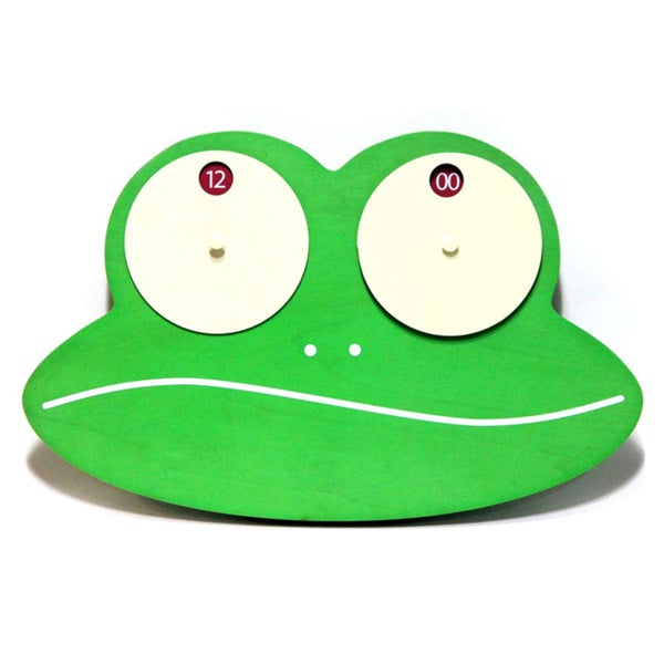 Infinity Instruments Froggy Green Wood Wall Clock