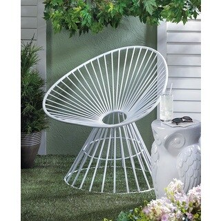 Rosemary White Fanned Iron Outdoor Lounge Chair