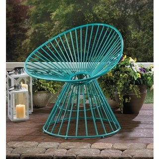 Rosemary Teal Fanned Iron Outdoor Lounge Chair