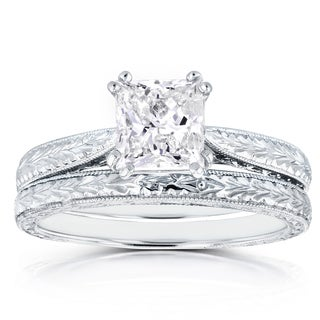 Annello 14k White Gold Certified 1 1/2ct TDW Princess Diamond Antique Cathedral Bridal Set (I, I1)