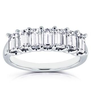 Annello 14k White Gold 1 3/4ct TDW Emerald Cut Diamond Semi Eternity Wedding Band (H-I, SI1-SI2)