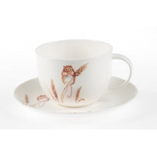 Roy Kirkham Breakfast Cup/Saucer - Country Wildlife Harvest Mouse Set of 2