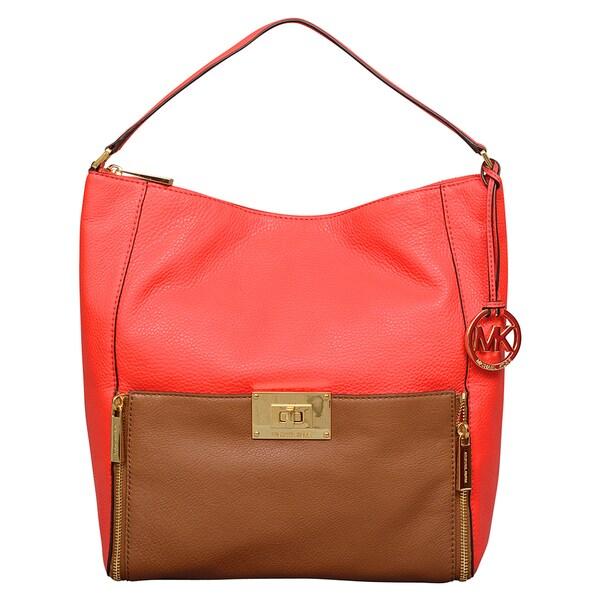 Michael Kors Large Sloan Mandarin/Luggage Brown Shoulder Bag