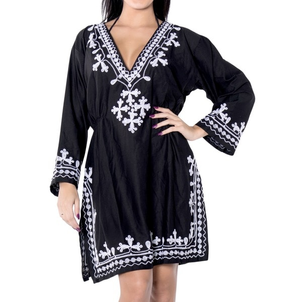 La Leela Embroidered Rayon Swimsuit V Neck Bikini Cover up Tunic Kaftan Black White Top