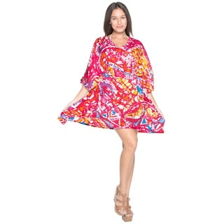 La Leela Women's Red Abstract Likre Beach Coverup