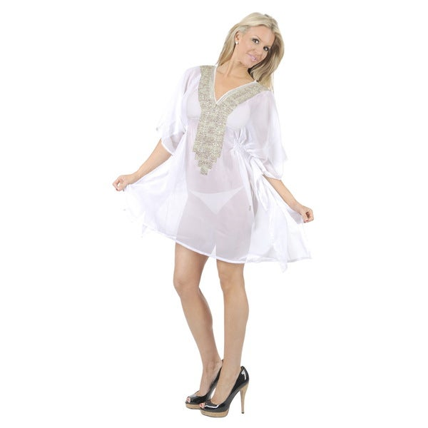 La LeelaPretty Cruise Dress Resort Sarong Bikini Cover up Cool Wear AT BEACH White