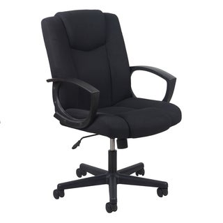 Essentials by OFM Swivel Black Upholstered Task Chair with Arms