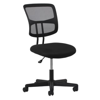 Essentials by OFM Swivel Black Mesh Armless Task Chair