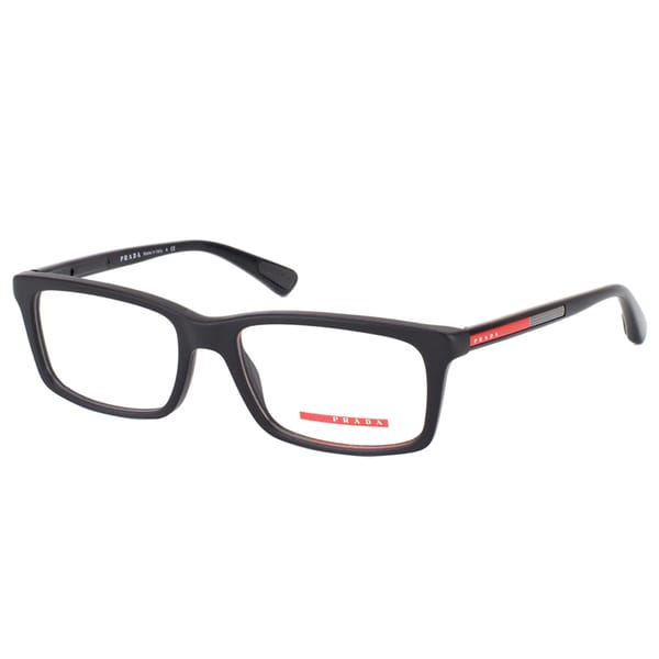 Prada Linea Rossa Men's PS 02CV 1AB1O1 Black Plastic Rectangular Eyeglasses 19210600
