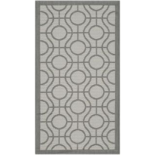 Safavieh Indoor/ Outdoor Courtyard Light Grey/ Anthracite Rug (2'7 x 5')