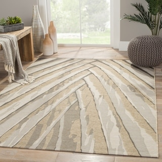 Contemporary Abstract Pattern Grey/ Silver Polypropylene and Polyester Area Rug (5'3 x 7'6)
