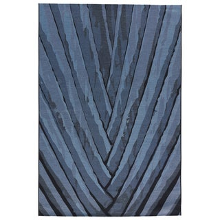 Contemporary Abstract Pattern Blue/ Black Polypropylene and Polyester Area Rug (5'3 x 7'6)
