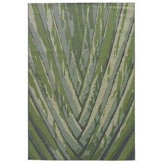 Contemporary Abstract Pattern Green Polypropylene and Polyester Area Rug (5'3 x 7'6)