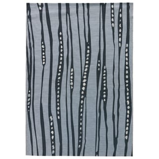 Contemporary Abstract Pattern Blue/ White Polypropylene and Polyester Area Rug (5'3 x 7'6)