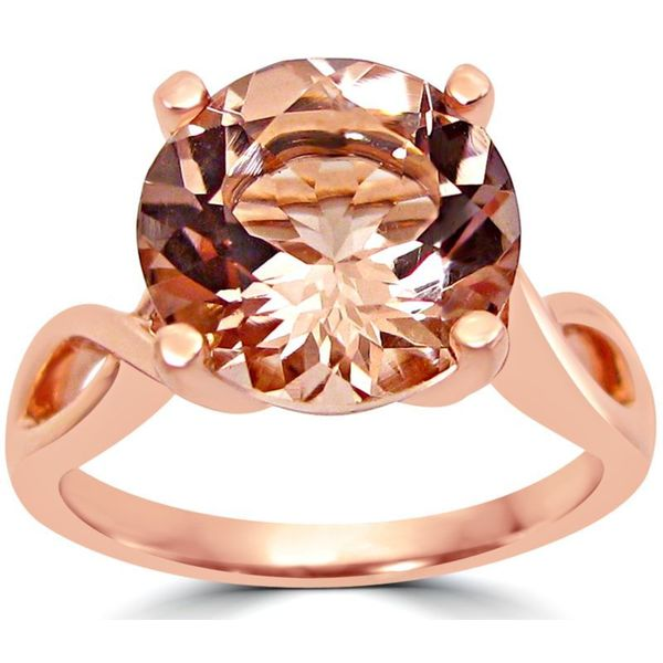 Noori 14k Rose Gold Round-cut Morganite Twist Knot Engagement Ring