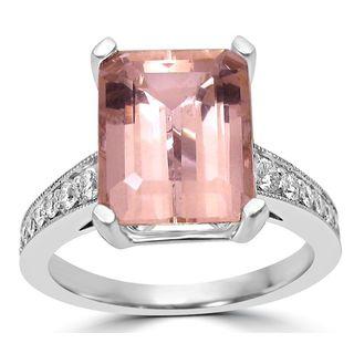 Noori 14k White Gold 3k SI1/SI2 G/H Emerald Cut Morganite Diamond Engagement Ring