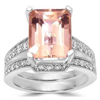 Noori 14k White Gold 3 1/2 TGW Emerald-cut Morganite Diamond Engagement Ring Bridal Set (SI1/SI2 G/H)