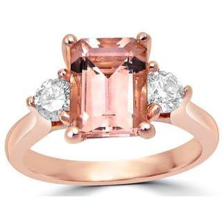 Noori 14k Rose Gold Emerald-cut Morganite 3-stone Diamond Engagement Ring