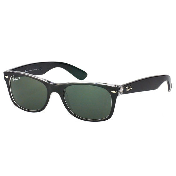 Ray Ban Unisex RB 2132 New Wayfarer 605258 Top Black On Transparent/Green Plastic Sunglasses 19211465