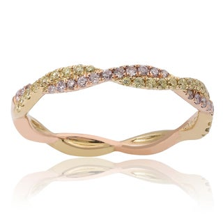 14K Yellow & Rose Gold Twisted Band with Yellow & Pink Diamonds