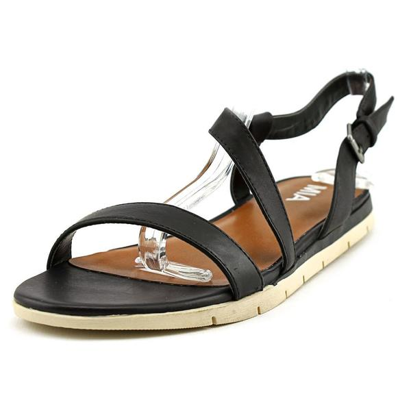 Mia Women's Baseline Black Faux-leather Slingback Sandals