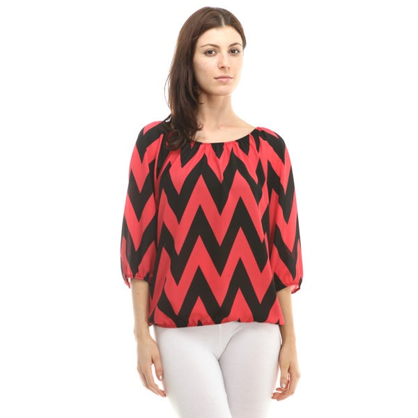 Chevron Three-Quarter Sleeve Top