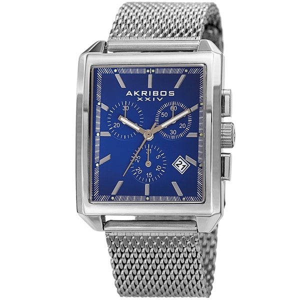 Akribos XXIV Men's Quartz Chronograph Date Silver-Tone/Blue Bracelet Watch