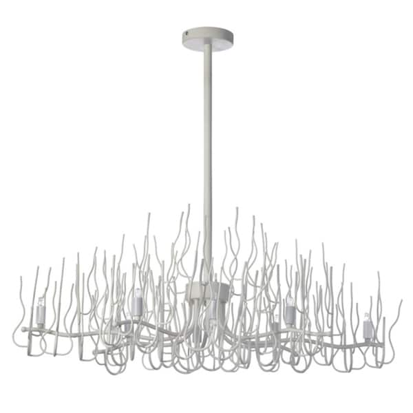 Dainolite White Eight Light Oval Twig Chandelier Free Shipping Today Overstock Com
