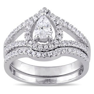 Miadora Sterling Silver Cubic Zirconia Bridal Ring Set