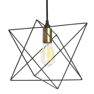 Dainolite Black Steel One-light Wire Frame Triangular Pendant