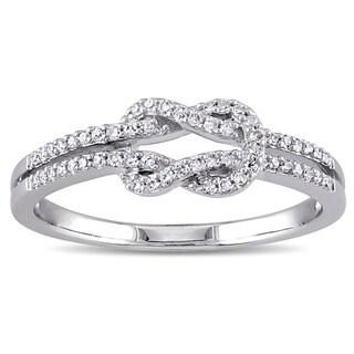 Miadora 14k White Gold 1/6ct TDW Diamond Double Row Infinity Ring (G-H, SI1-SI2)