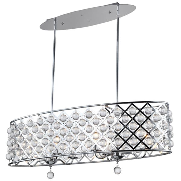 Dainolite Polished Chrome 6 Light Oval Chandelier With Crystals